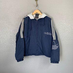 Vintage Adidas trefoil puffer windbreaker jacket M